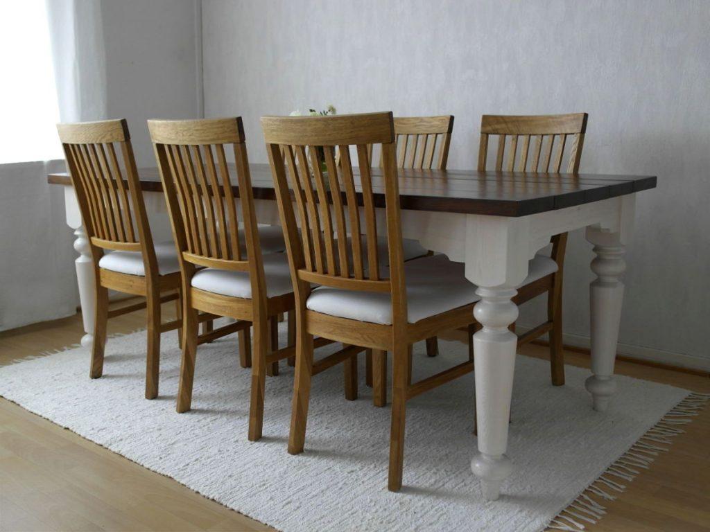 ruokapöytä-maalaisromanttinen-puinen-lankkukansi
