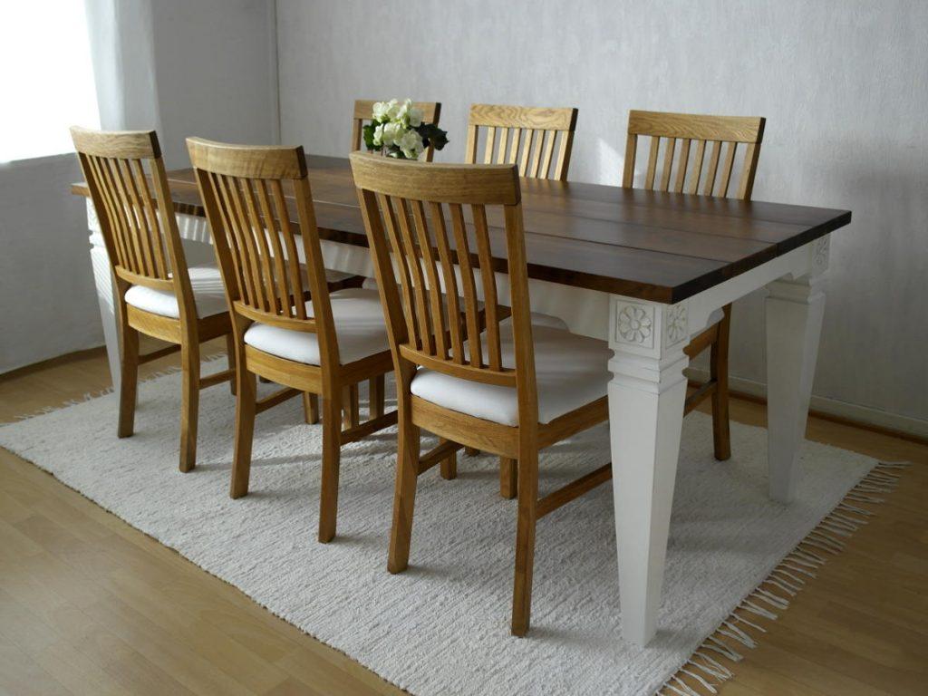 ruokapöytä-maalaisromanttinen-veistokoristeltu-lankkukansi